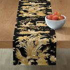 Table Runner Toile Chinoiserie Asian Gold Black Chinese Cotton Sateen