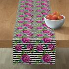 Table Runner Roses And Stripes Spring Modern Floral Pink Fuschia Cotton Sateen