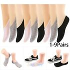 1-9 Pairs Women Invisible No Show Nonslip Loafer Low Cut Solid Cotton Boat Socks