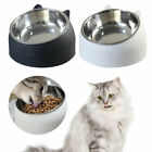 Pets Cat Stainless Steel Bowls Raised No Slip Elevated Stand Tilted Feeder Bowls