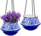 Hanging Planters Indoor Outdoor - Blue and White Ceramic (2 Pack)