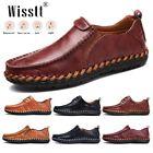Men's Hand Stitching Leather Loafers Nonslip Party Lightweight Dress Sneakers