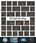 KNIGHTSBRIDGE GUNMETAL FLAT PLATE Switches & Sockets BLACK Insert + USB