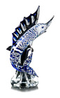 Murano Glass Original Marlin With Silver On Base Made Ìn Italy Made by Hand