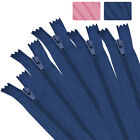 50Pcs 9'-24' Nylon Coil Close End Zippers Bulk For Sewing Crafts Pink & Blue