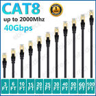 CAT8 Ethernet Cable Lan Cord Patch Copper 26AWG SFTP Shielded RJ-45 3-100FT Lot