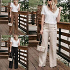US Women's Office Loose Stretch High Waist Wide Leg Long Pants Palazzo Trousers