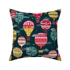 Hot Air Balloon Sky Kids Happy Throw Pillow Cover w Optional Insert by Roostery