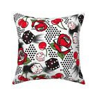 White Roll The Dice Red And Throw Pillow Cover w Optional Insert by Roostery