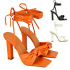 Womens Strappy High Heel Sandals Ladies Knot Two Faux Leather Peep Toe Shoes 3-8