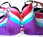 6 Bras Floral Lace Sexy Hot Push Up Multi Colors #99804 Lot Bras 32-42 B C Cup