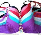 6 Bras Floral Lace #99937 Sexy Hot Push Up Multi Colors Lot Bras 32-42 B C D Cup