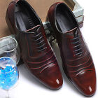Mens Leather Stylish Dress Lace Up Wine Shoes