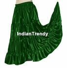 Green Satin 4 Tier Gypsy Skirt Belly Dance Costume Club