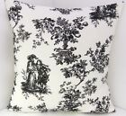 NEW COTTON TOILE DE JOUY BLACK IVORY CUSHION COVERS