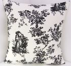 CUSHION COVERS  NEW COTTON TOILE DE JOUY BLACK IVORY PILLOW COVERS
