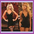New Sexy Hustler Lingerie Lace Satin Mini Dress Babydoll Removable Garter Black