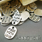 30 Silver Plated Made with Love Tag Necklace Charms