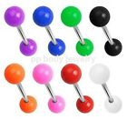 "14G~5/8""~16mm Tongue Ring Barbell 316L Steel Shaft w/6mm Solid Colored U.V. Ball"