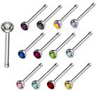 "18GA~1/4"" (6mm) 316L Steel 2mm CZ Press Fit Nose Bone with Colored CZ's"