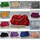 SATIN ROSE BOUQUET PATTERN WEDDING PARTY PROM EVENING CLUTCH BAG