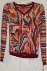 MISSONI FOR TARGET Chiffon V-Neck  Sweater Zig Zag Top Knit Blouse Multicolor