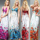 New Spring Flower Prints Sexy Rope Style Summer Beach Maxi Dress