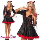 New Women Deluxe Halloween Gothic Vampire Devil Fancy Dress Costume S-2XL
