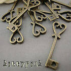 10 Antique Bronze Alice in wonderland Heart Key Charms Steampunk DIY