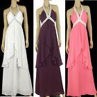 New Beaded Halter Neck Chiffon Party Cocktail Prom Formal Dress Evening Gown