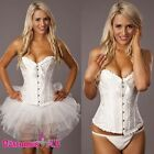 Ladies white Angel Costume Corset G String Tutu Skirt Petticoat Set S-6XL