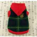 Dog & Cat Clothes Warm Hoodie Shirts,Pet Apparel Check Pattern Coats Green_D136
