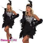 Ladies 20s 1920s Charleston Flapper Chicago Fancy Dress Costume Free Necklace