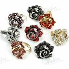 1PC Crystal Rhinestone Rose Flower Adjustable Finger Ring 14 Colors Fashion Gift