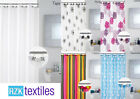New Designer Shower Curtains with Decorative Hooks. 180 x 180cm Easy to Hang