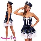 Ladies Sailor Uniform Navy Costume 50s Rockabilly Pin Up Fancy Dress Up & Hat