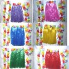 Grass Skirt & Flower Hawaiian Fancy Dress Choose Colour In
