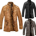 VINTAGE Men Military Pu Leather Coat Winter Jacket Trench Overcoat Outwear Parka