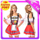 Ladies Beer Maid Wench German Heidi Oktoberfest Gretchen Costume Fancy Dress