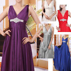 New Diamante V Neck Party Prom Cocktail Formal Bridesmaid Dress Evening Gown