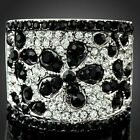 Onyx Flower Cocktail Party Fashion Finger Rings Gold Plated Swarovski Crystal