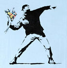 Banksy Mobster Throw Flower Street Are Love Casual Man T-Shirt Graffiti M