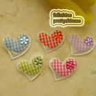 Mixed Gingham Heart Felt Appliques Padded Craft Sewing Scrapbooking Trim New