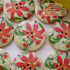 Poinsettia 30mm Wood Buttons Sewing Scrapbooking Craft D007