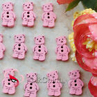 Cute bear 11mm Wood Buttons Sewing Scrapbooking Craft NCB022-4 pink