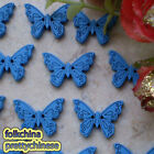 Blue New Butterfly 22mm Wood Buttons Sewing Scrapbooking Craft NCB035-2