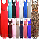 NEW WOMENS LADIES LONG JERSEY RACER BACK BELTED SLEEVELESS MAXI DRESS SIZE 814
