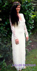 John Zack  Off White Ivory Cream Scalloped Neck Lace Maxi Dress New Sizes 6 - 20