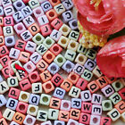Assorted Square Alphabet Letter Acrylic Plastic 6mm Beads 39C9308