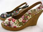 Odeon Floral Fabric Wedges Blue / Cream 3 4 5 6 7 8 Basket Effect Wedge Comfy